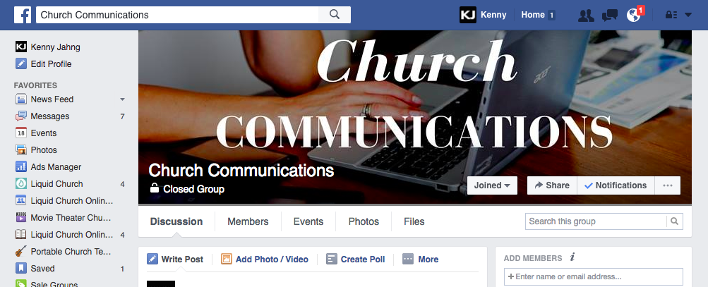 Church Communications Facebook Group