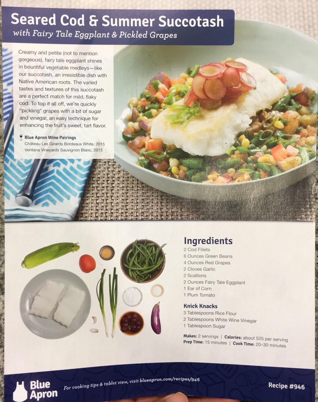 BlueApron.com front of recipe sheet