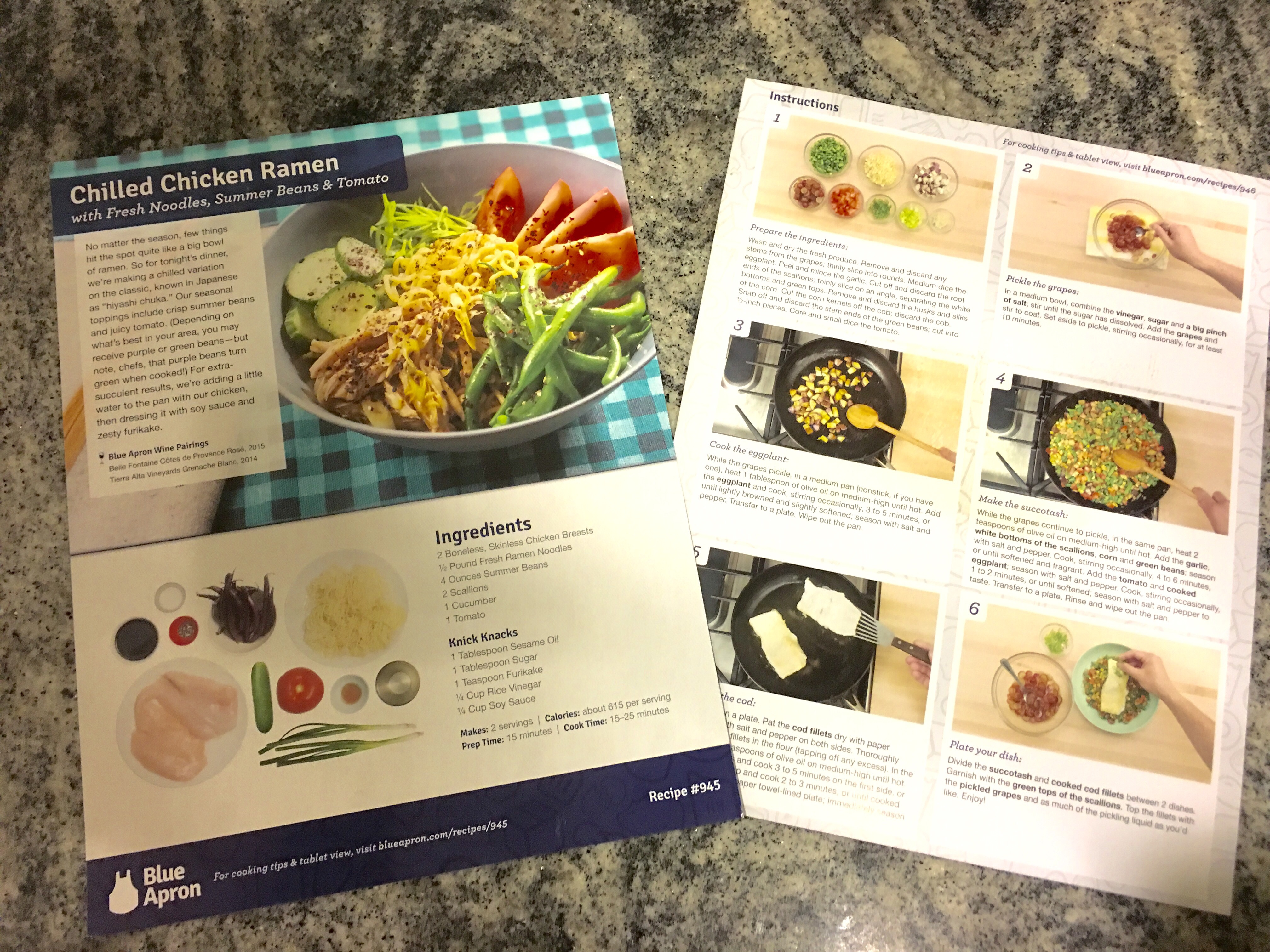 trying out blue apron dinners
