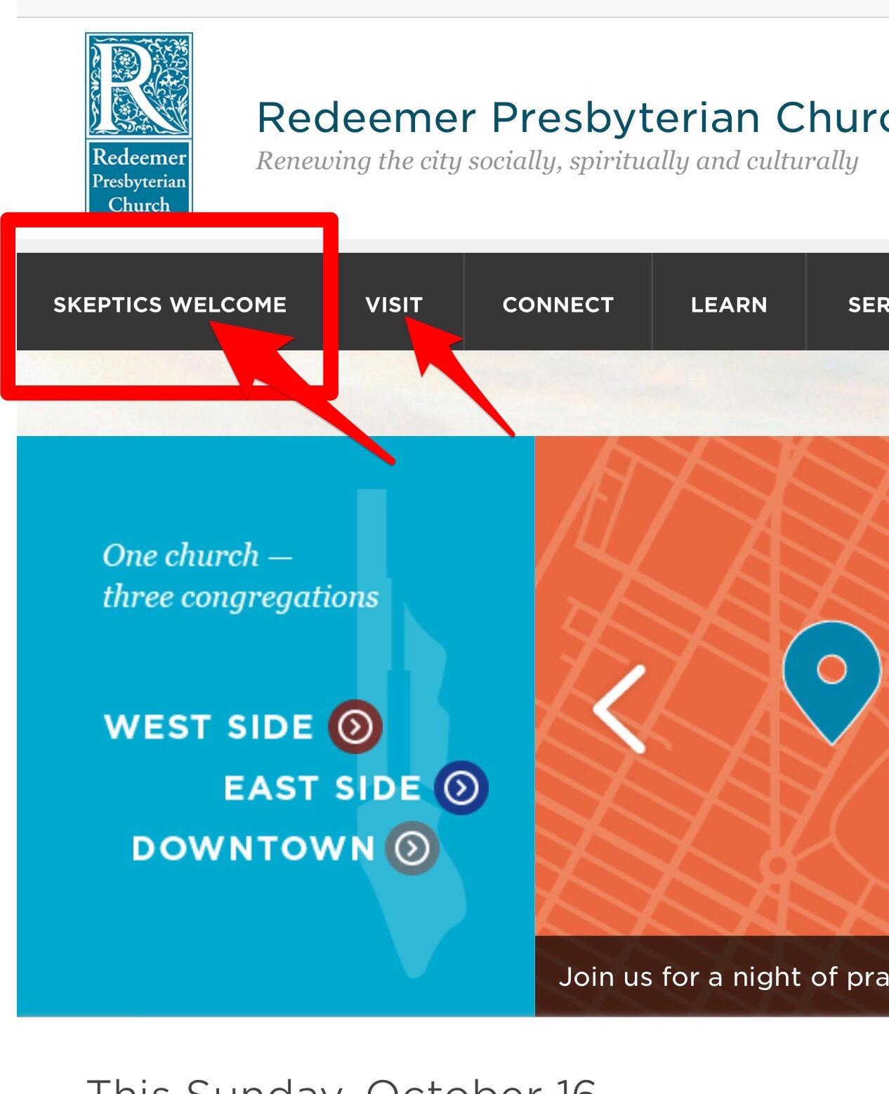 Redeemer website strategy in navigation menu