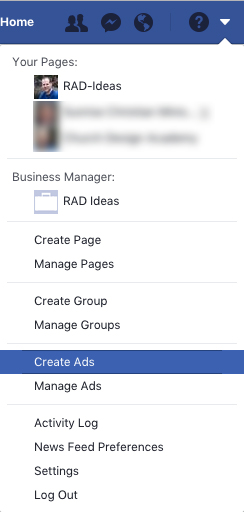 Create Ads Tab - for choosing Facebook Ad Objectives