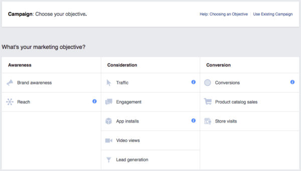 Facebook Ad Objectives List